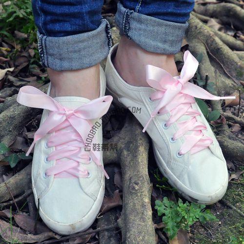 2cm宽女款儿童鞋带浅粉色缎带绸带光滑丝宽扁鞋带帆布