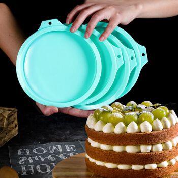 劣狐狐6英寸彩虹蛋糕模具4件套硅胶小盘戚风烤盘慕斯