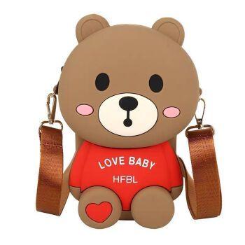 小熊包包女新款2021儿童可爱硅胶包手机包链条单肩斜挎包包l 欢乐熊