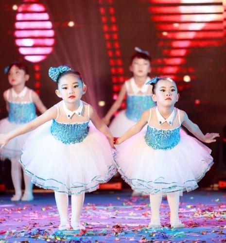 儿童演出服女童蓬蓬裙公主裙连衣裙亮闪闪舞蹈纱裙现代爵士表演服