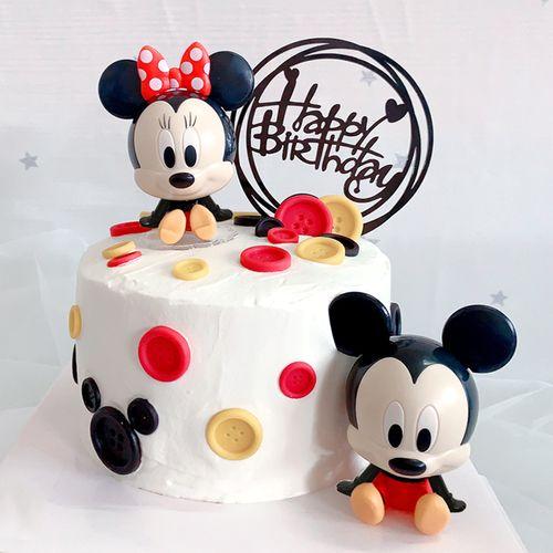 儿童生日蛋糕装饰米奇米妮卡通派对摆件烘焙用品米老鼠公仔配件