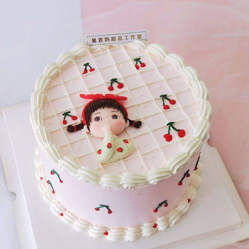 烘焙蛋糕装饰草莓毛衣女孩生日蛋糕韩系可爱风少女心