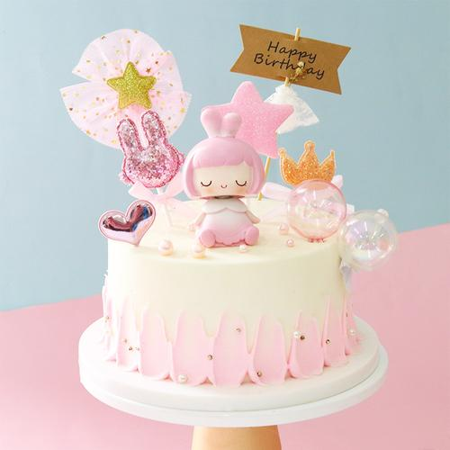 蛋糕烘焙装饰摆件可爱小公主王子浪漫生日蛋糕装扮网