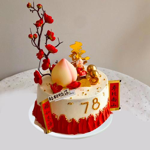 仿真蛋糕模型2020新款网红祝寿寿桃生日蛋糕模型样品