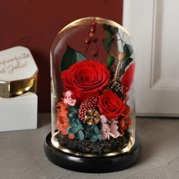 永生花礼盒玻璃罩康乃馨玫瑰干花束情纪念日表白生日送女友闺蜜妈妈