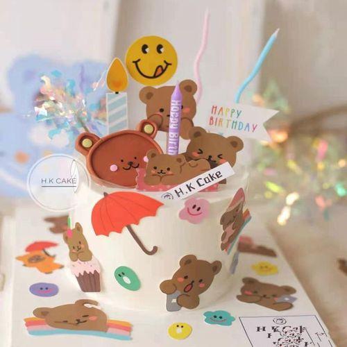 韩式复古ins网红可爱卡通小熊贴纸生日蛋糕装饰笑脸小花插牌插件