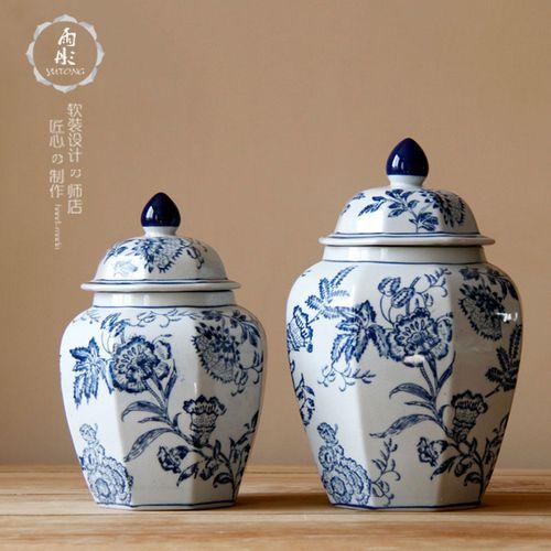 手绘缠枝花纹八角罐陶瓷摆件仿古装饰景德镇陶瓷器青花瓷陶瓷