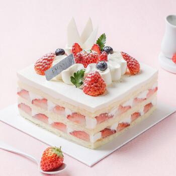 【罗森尼娜】心享草莓-新鲜水果 动物奶油 草莓戚风蛋糕 长沙生日蛋糕