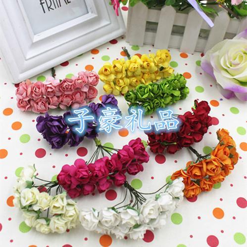 假花仿真花玫瑰花小朵纸玫瑰藤条手工花环材料配件