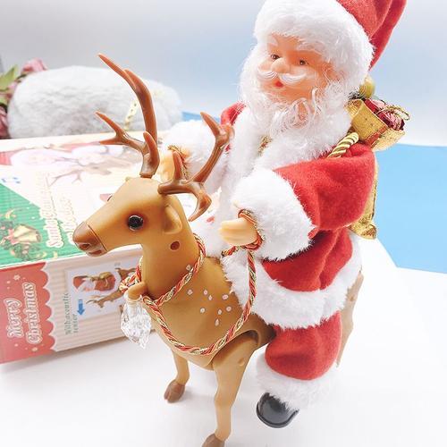 圣诞老人公仔电动爬珠帘礼物老公公毛绒店面挂饰平安