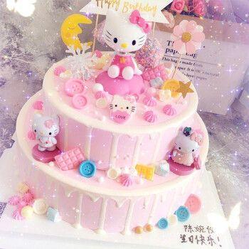 hello kitty凯蒂猫儿童生日蛋糕kt猫同城配送上海