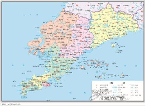 打印定制高清电子版素材交通水系卫星地形政区地图辽宁省大连市