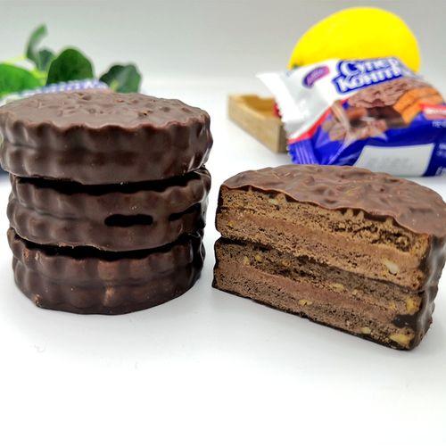 包邮俄罗斯进口三明治夹心巧克力花生榛子味饼干零食品