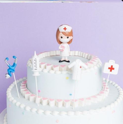 512护士节蛋糕插件装饰插牌医生网红烘焙摆件快乐白衣天使感谢恩