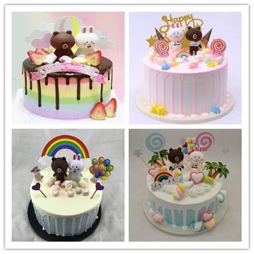 深圳蛋糕模型 新款卡通布朗熊可妮兔仿真蛋糕模型 儿童款卡通蛋糕