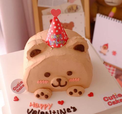 复古小熊小帽子烘焙蛋糕插牌 儿童生日蛋糕装饰 韩风ins风装扮