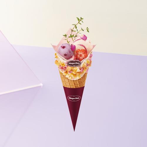 哈根达斯冰淇淋花意华夫筒冰激凌外带甜筒官方旗舰店