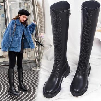 贤语长筒马丁靴女2020秋冬季新款英伦风绑带骑士靴平底时尚米白色女靴