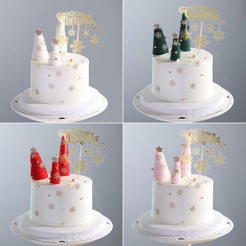 创意翻糖烘焙蛋糕装饰圣诞树水晶驯鹿摆件圣诞快乐插