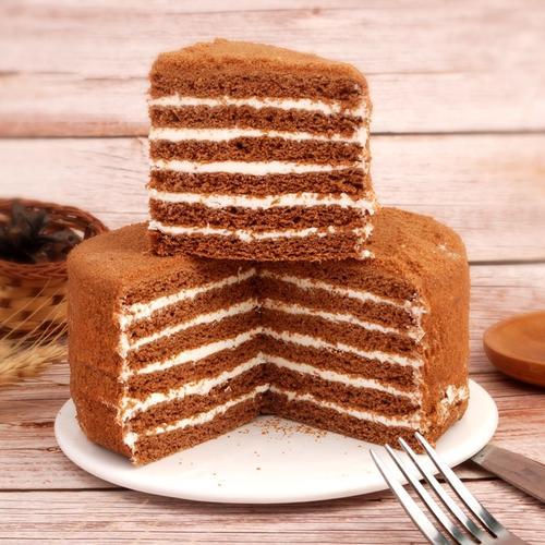 俄罗斯双山提拉米苏千层蛋糕奶油蜂蜜夹心好吃的黑