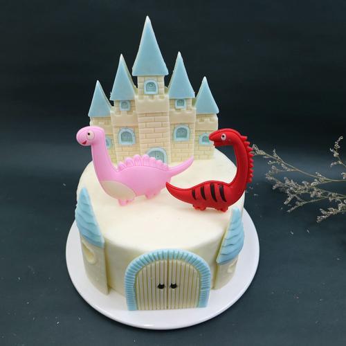 巧克力恐龙城堡椰子树情景卡通蛋糕装装饰插件diy蛋糕