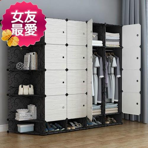 衣柜收纳架塑料简22易衣柜 7组装家具布衣橱实木简约