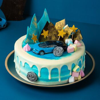熊猫不走蛋糕汽车总动员男孩儿童水果夹心奶油生日蛋糕同城配送 汽车