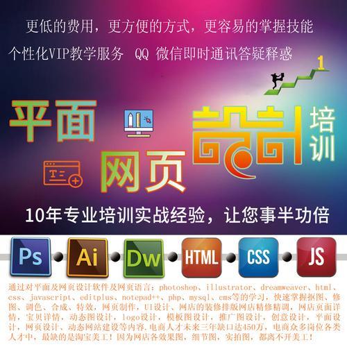 ps ai html css js php mysql平面网页设计电商淘宝在线培训