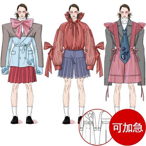 手绘服装设计效果图款式图ps定制绘制画淘宝主图模特