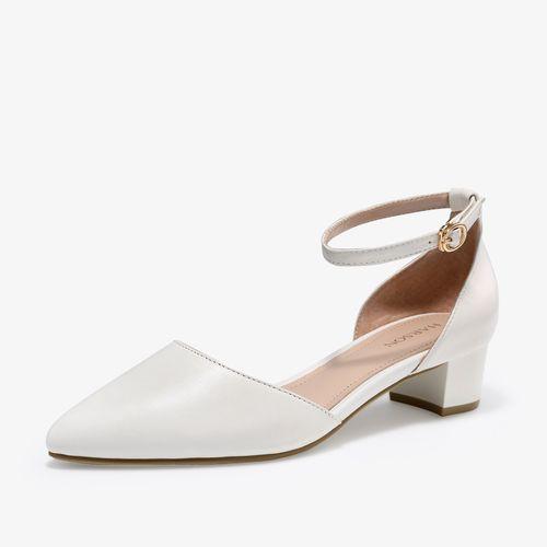 【专柜同款】羊皮革包头中空低跟尖头女凉鞋玛丽珍鞋