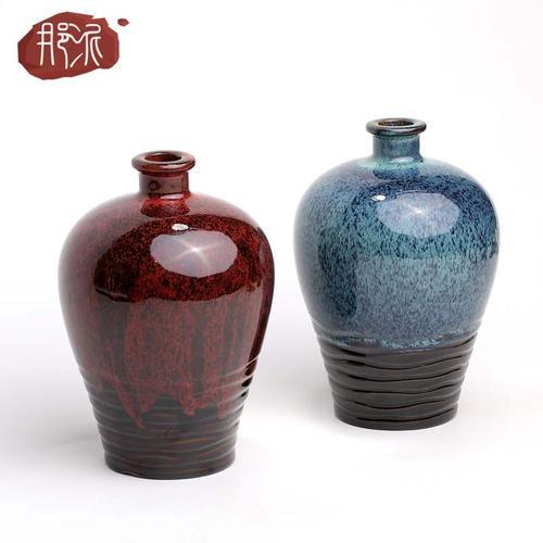 变色陶瓷坛子陶瓷宜兴2斤装窑釉酒瓶酒壶酒罐黄酒白空