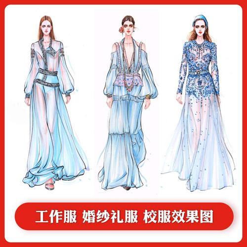 款式衣服版图服装设计手绘图效果图代画款式打成衣