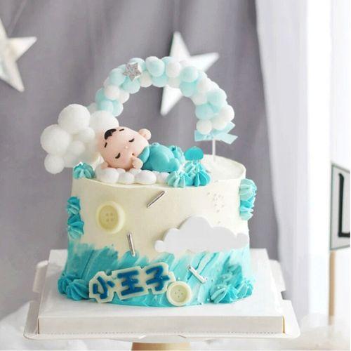 软陶吃手指睡眠婴儿小宝宝生日蛋糕装饰摆件100天小