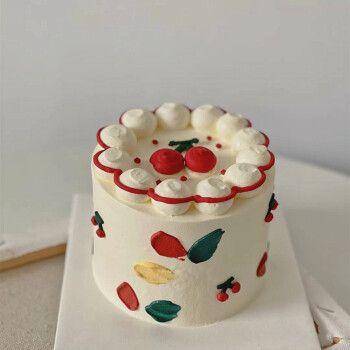 生日蛋糕4寸手绘定制新鲜水果送闺蜜情侣甜点下午茶全国同城配送 可爱