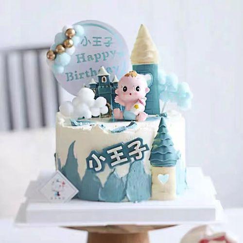 奶瓶宝宝蛋糕装饰摆件满月百天周岁儿童生日蛋糕插件卡通婴儿配件