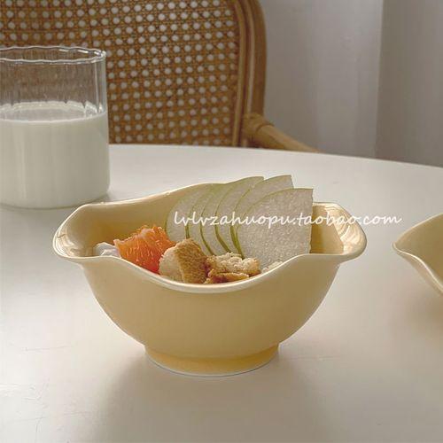 韩式ins鸡蛋黄陶瓷碗酸奶麦片水果碗小菜碗甜品蛋糕