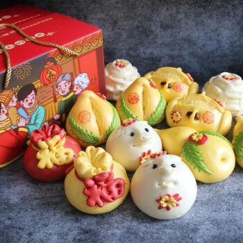 顺丰直达 胶东大饽饽花饽饽山东手工馒头面食生日蛋糕礼物寿桃 五福