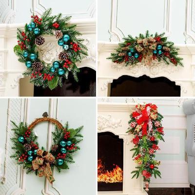 圣诞花环门挂装饰圣诞花环挂圈门挂晚会大型挂件礼品