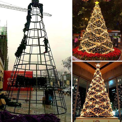 大型圣诞树4/5/6/8/10米框架户外场景布置道具酒店