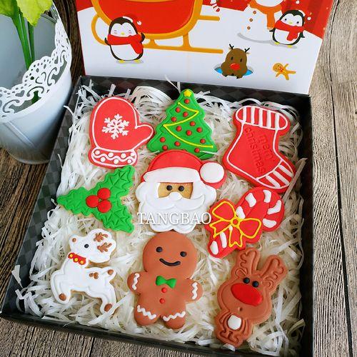 圣诞节翻糖糖霜饼干圣诞树圣诞活动策划道具礼品创意