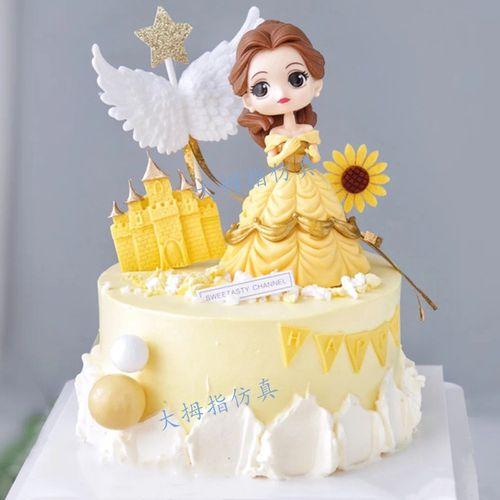 网红新款贝尔公主生日蛋糕模型 冰雪奇缘爱莎公主仿真