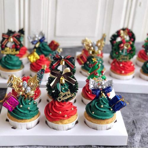 圣诞节蛋糕装扮插件圣诞老人麋鹿草圈摆件烘焙蛋糕装扮插牌插件