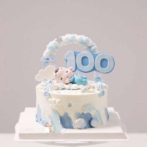 奶瓶宝宝满月百天周岁生日蛋糕装饰摆件 拇指婴儿毛球