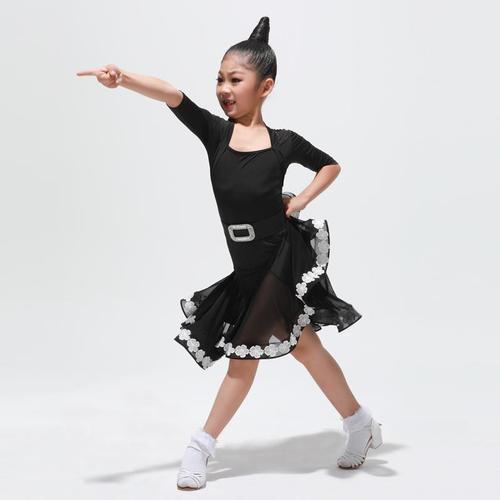 康尼练功拉丁舞跳舞服分体考级黑池舞蹈比赛服儿童表演套装服