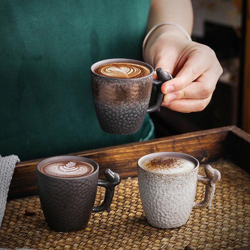 日式粗陶浓缩咖啡杯主人茶杯复古品茗杯80ml