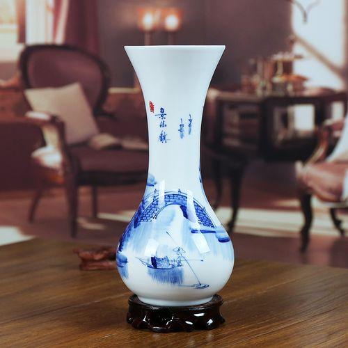 景德镇陶瓷花瓶青花瓷器手绘水乡现代家居客厅花插工艺品摆件礼物