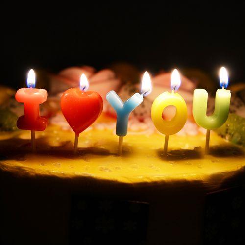 恋恋三季旗生日蛋糕蜡烛派对装饰儿童成人生日礼品