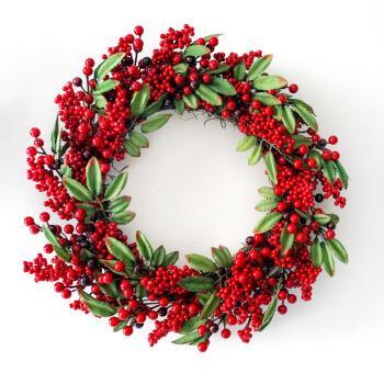 冬青壁挂花环 圣诞花环门挂藤条落雪圣诞树花圈装饰挂件场景布置摆件