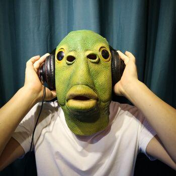 抖音网红 绿鱼人头套 绿鱼人头套绿头鱼头套怪怪鱼抖音搞怪头套绿鱼人
