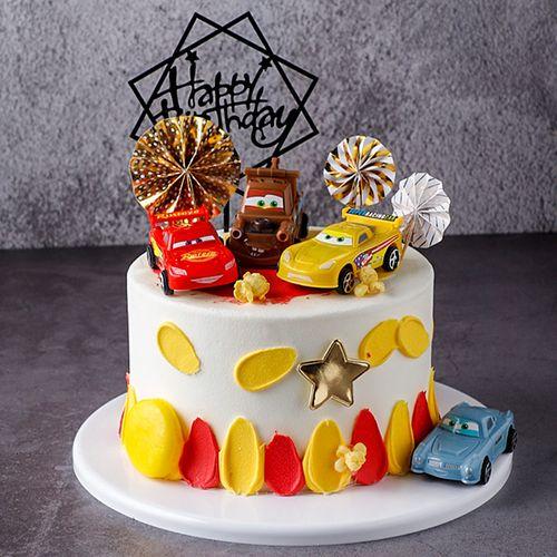 烘焙蛋糕装饰汽车总动员金色蓝色风车亚克力生日插牌